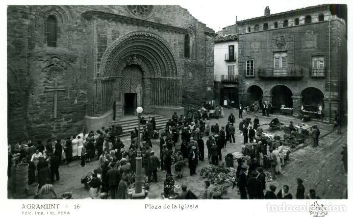 AGRAMUNT - PLAZA DE LA IGLESIA (Postales - España - Cataluña Antigua (hasta 1939))