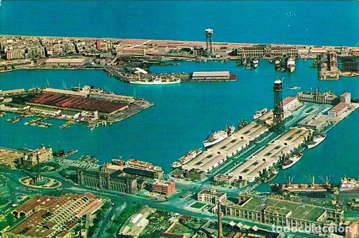 BARCELONA, VISTA AEREA DEL PUERTO, AEROCOLOR Nº 1014 (Postales - España - Cataluña Moderna (desde 1940))