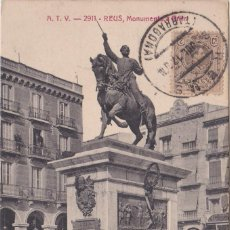 Postales: REUS (TARRAGONA) - MONUMENTO A PRIM - ED. ANGEL TOLDRA VIAZO - BARCELONA. Lote 220302861