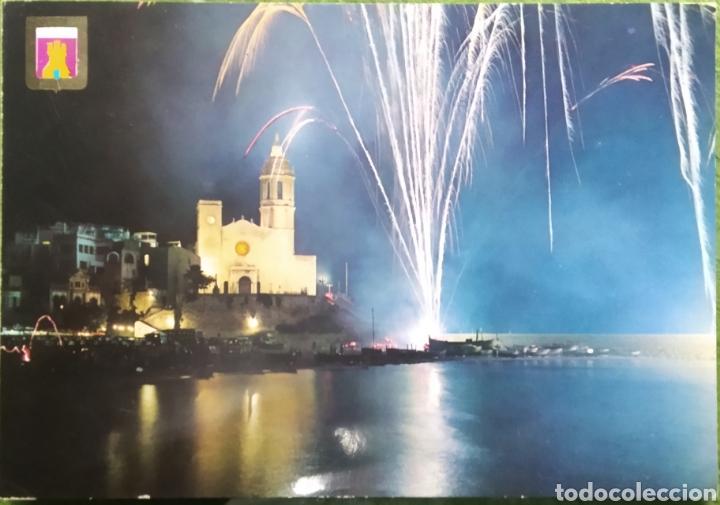 POSTAL N°230 LA IGLESIA FUEGOS ARTIFICIALES SITGES (Postales - España - Cataluña Moderna (desde 1940))