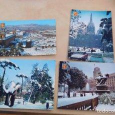 Postales: LOTE DE 4 POSTALES VINTAGE DE BARCELONA NEVADA AÑOS 60. Lote 221152506