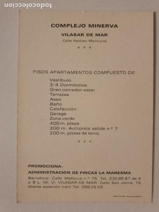Postales: VILASSAR DE MAR - COMPLEJO MINERVA - PISOS Y APARTAMENTOS - LMX - MAR2 - Foto 2 - 221515822