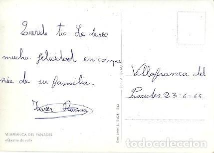 Postales: ANTIGUA POSTAL VILAFRANCA DEL PANADES QUATRE DE VUIT FOTO A GRAU 1965 - Foto 2 - 221515930