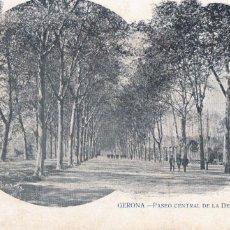 Postales: GIRONA PASEO CENTRAL DE LA DEHESA. ED. J. FRANQUET Nº 18. REVERSO SIN DIVIDIR. SIN CIRCULAR. Lote 221945357