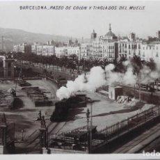 Postales: P-11594. BARCELONA. PASEO COLON Y TINGLADOS DEL MUELLE. CIRCULADA. 1906. Lote 221950803