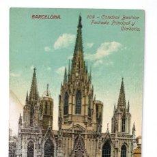 Postales: ANTIGUA POSTAL BARCELONA. Nº 109. CATEDRAL, BASILICA, FACHADA PRIINCIPAL Y CIMBORIO. JORGE VENINI.. Lote 222339828