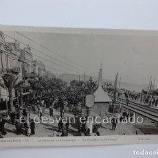 Postales: BADALONA. LA RAMBLA, EN DIUMENGE. POSTAL FOTOGRÁFICA LLIB. RIERA. Lote 222576120