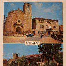 Postales: SOSES - PLAÇA ESGLÉSIA ESCOLES NACIONALS / PLAZA IGLESIA ESCUELAS NACIONALES - LLEIDA - LMX - PLLE6. Lote 222714393