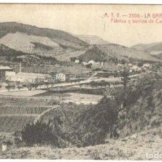 Postales: LA GARRIGA. FÁBRICA Y BARRIOS DE CAROL. A.T.V. 2508. CIRCULADA EN 1914.. Lote 226401100