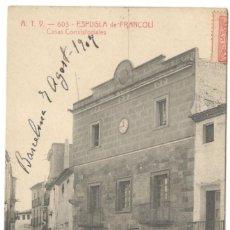 Postales: ESPLUGA DE FRANCOLI - CASAS CONSISTORIALES. A.T.V. 603.. Lote 234532240