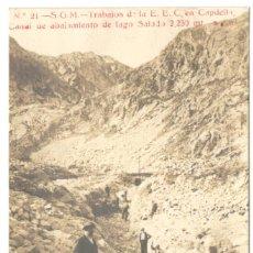 Postales: POSTAL FOTOGRAFICA - S.G.M.- TRABAJOS DE LA E.E.C. EN CAPDELLA, CANAL DE ABAJAMIENTO DE LAGO SALADO.. Lote 234560465