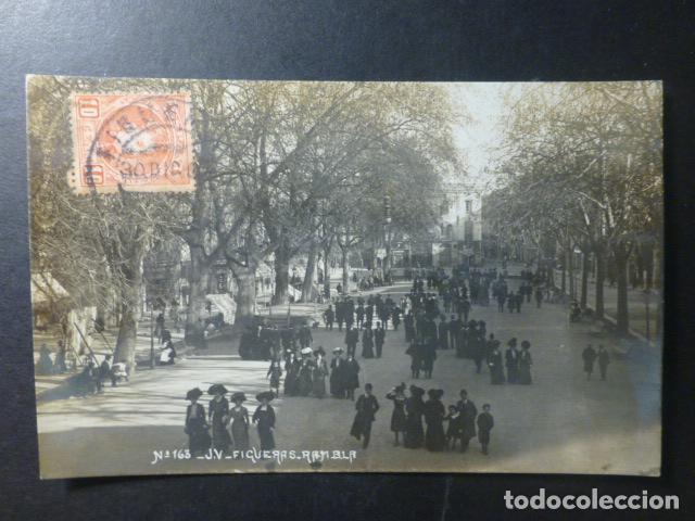 FIGUERAS GERONA RAMBLA ED. J V POSTAL FOTOGRAFICA Nº 163 (Postales - España - Cataluña Antigua (hasta 1939))