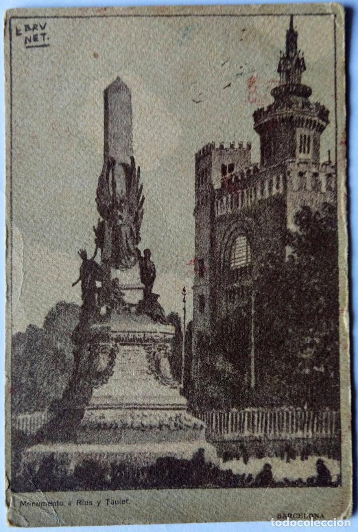 BARCELONA MONUMENTO A RIUS Y TAULET ILUSTRADOR BRUNET N 750 (Postales - España - Cataluña Antigua (hasta 1939))