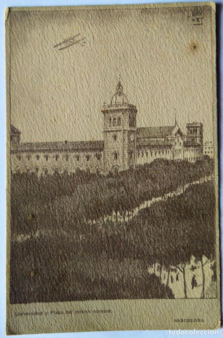 BARCELONA UNIVERSIDAD Y PLAZA DEL MISMO NOMBRE ILUSTRADOR BRUNET N 771 (Postales - España - Cataluña Antigua (hasta 1939))