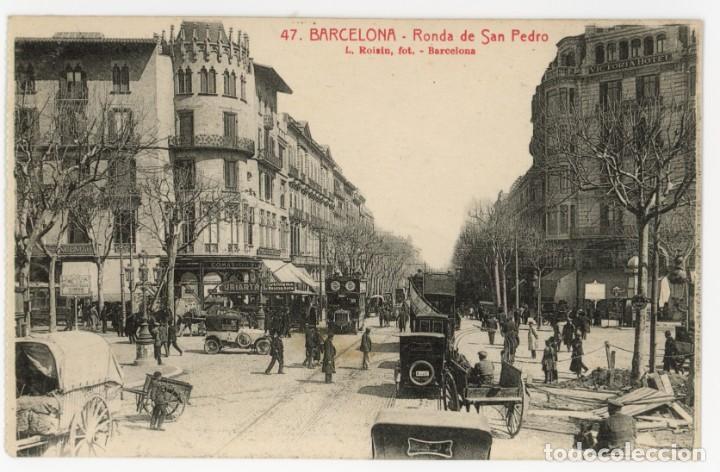 A06033 0047 BARCELONA RONDA SAN PEDRO ROISIN Nº47 SC COCHES BUS DOS PISOS TARTANA (Postales - España - Cataluña Antigua (hasta 1939))