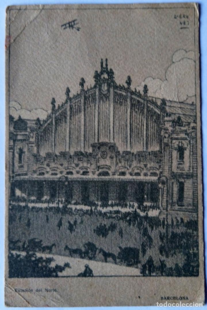 BARCELONA ESTACION DEL NORTE ILUSTRADOR BRUNET N 754 (Postales - España - Cataluña Antigua (hasta 1939))