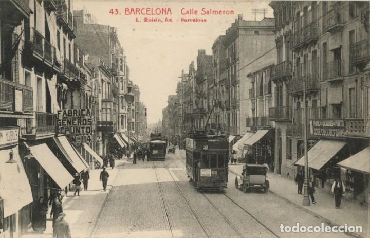 A06037 0043 BARCELONA CALLE SALMERON (GRAN DE GRACIA) ROISIN Nº43 SC COCHE TRANVIAS (Postales - España - Cataluña Antigua (hasta 1939))