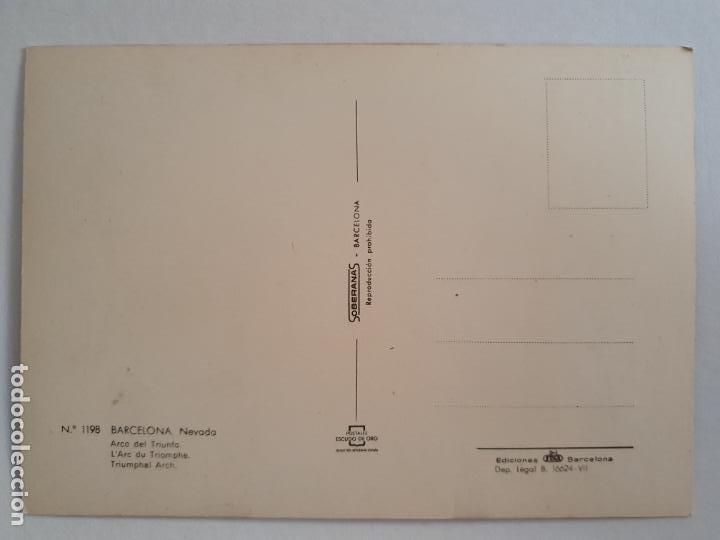 Postales: BARCELONA - NEVADA 1962 - ARC DE TRIOMF / ARCO DE TRIUNFO - P42816 - Foto 2 - 234925590
