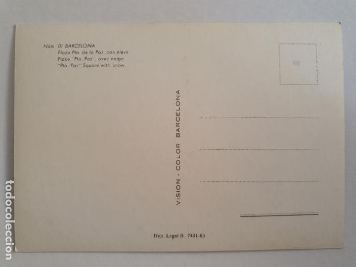Postales: BARCELONA - NEVADA 1962 - PLAZA PUERTA DE LA PAZ - P42817 - Foto 2 - 234925805