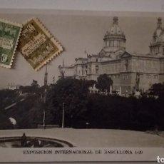 Postales: POSTAL EXPOSICIÓN INTERNACIONAL DE BARCELONA 1929 Y DOS SELLO 1930. Lote 235120910