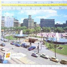 Postais: POSTAL DE BARCELONA. AÑO 1966. PLAZA DE CATALUÑA. COCHES SEAT 600. . 300. Lote 235177505