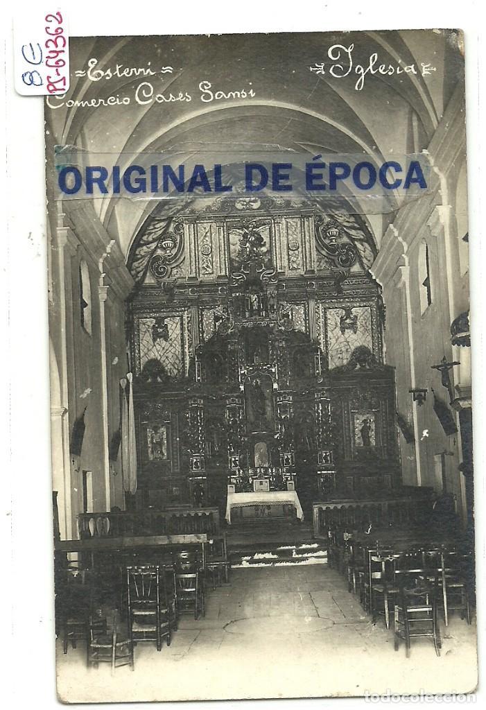 (PS-64362)POSTAL FOTOGRAFICA DE ESTERRI-IGLESIA.COMERCIO CASES SAMSI (Postales - España - Cataluña Antigua (hasta 1939))