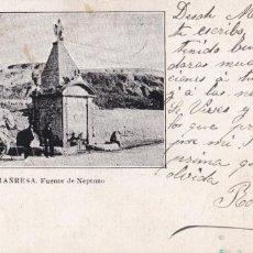 Postales: BARCELONA, MANRESA FUENTE DE NEPTUNO. REVERSO SIN DIVIDIR. CIRCULADA EN 1905. VER REVERSO. Lote 243661185