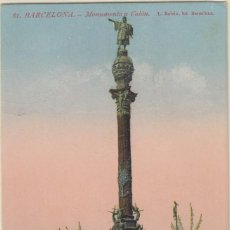 Postales: (218) POSTAL BARCELONA - 61 MONUMENTO A COLON - ROISIN - ANIMADA - CIRCULADA. Lote 244952220