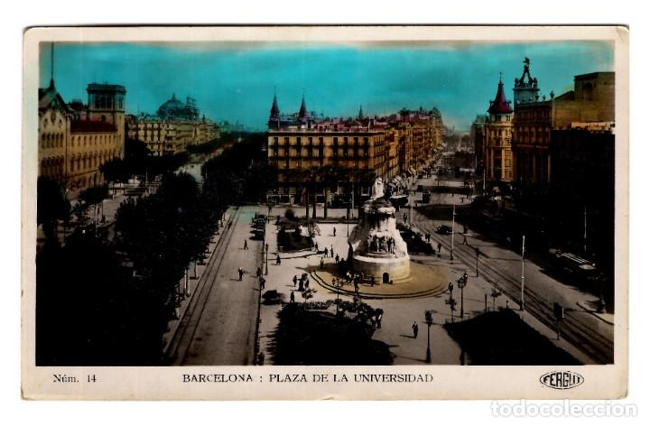 Postales: Barcelona - Plaza de la Universidad - Ed. Fergui Núm. 14 - Coloreada - 141x92 - Impecable - Inédita - Foto 1 - 245362915