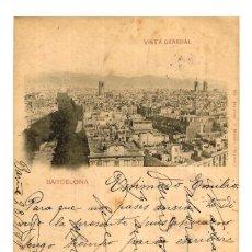 Postales: BARCELONA - VISTA GENERAL - HAUSER Y MENET - REV. SIN DIVIDIR - CIRCULADA 30/03/1899 - 145X89. Lote 246138050