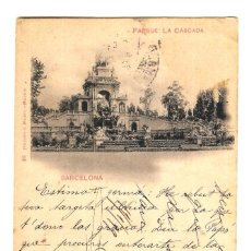 Postales: BARCELONA - PARQUE: LA CASCADA - HAUSER Y MENET - REV. SIN DIVIDIR - CIRCULADA 14/01/1899 - 140X89. Lote 246139875