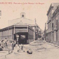 Cartes Postales: BARCELONA, MOLINS DE REY, MERCADO Y CALLE ALFONSO I. ED. FOTOTIPIA THOMAS Nº 1. Lote 252553470