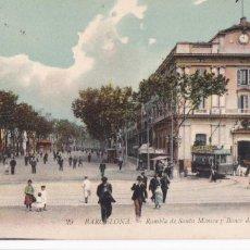 Cartes Postales: BARCELONA, RAMBLA SANTA MONICA Y BANCO BARCELONA. ED. LL Nº 29. BYN COLOREADA CIRCULADA EN1916. Lote 254048420