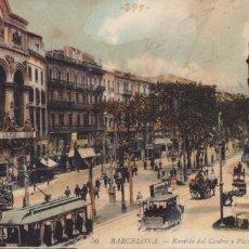 Cartes Postales: BARCELONA, RAMBLA DEL CENTRO Y PLAZA TEATRO. ED. LL Nº 50. BYN COLOREADA, ESCRITA. Lote 254049265