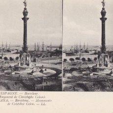 Cartes Postales: BARCELONA, MONUMENTO A COLON. ED. LL Nº 7. POSTAL ESTEREOSCOPICA FRANCESA, SIN CIRCULAR. Lote 254050585