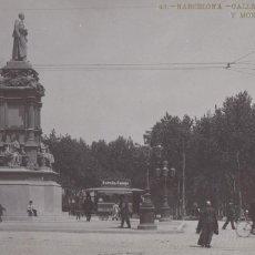 Cartes Postales: BARCELONA, CALLE CORTES Y MONUMENTO A GUELL. ED. LB, LUIS BARTRINA Nº 48. FOTOGRAFICA. CIRCULADA. Lote 254055320