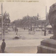 Cartes Postales: BARCELONA, PASEO COLON DESDE MONUMENTO. ED. LB, LUIS BARTRINA Nº 27. FOTOGRAFICA. CIRCULADA EN 1910. Lote 254056875