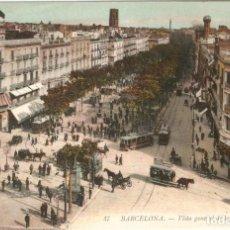 Postales: BARCELONA 47 VISTA G. DE LAS RAMBLAS L.L. CIRC. EN 1912. Lote 254331410