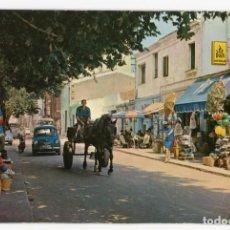 Cartoline: M02034 CALELLA DE MAR CALLE TIPICA 1971 CARRO BURRO SEAT 600 PIZ BUIN FORMATO RARO 15X9.5 CM. Lote 254399235