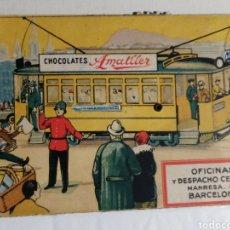 Postales: TARJETA CHOCOLATES AMATLLER TIPO POSTAL CON RUEDA ITINERARIO Y NUMERACION TRANVIAS. Lote 254997510