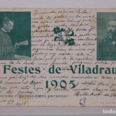 Postales: ANTIGUA POSTAL / ENTRADA FESTES DE VILADRAU AÑO 1905 / GIRONA - IMP TRES-LLITS - ESCRITA. Lote 255989360
