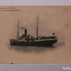 Postales: ANTIGUA POSTAL NUMERO 3 BARCO VAPOR BARCELONA - PINILLOS IZQUIERDO CÁDIZ - CIRCULADA AÑO 1913 -. Lote 255989875