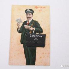 Postales: ANTIGUA POSTAL RECUERDOS DE BARCELONA - SIN CIRCULAR - CARTERO 10 VISTAS DESPLEGABLES. Lote 255993430