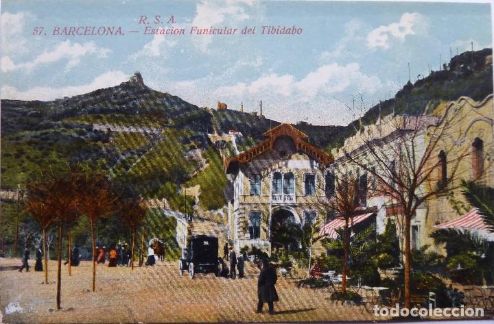 P-12684. BARCELONA. ESTACIÓN FUNICULAR DEL TIBIDABO. POSTAL R.S.A. COLOREADA. NO CIRCULADA. (Postales - España - Cataluña Antigua (hasta 1939))