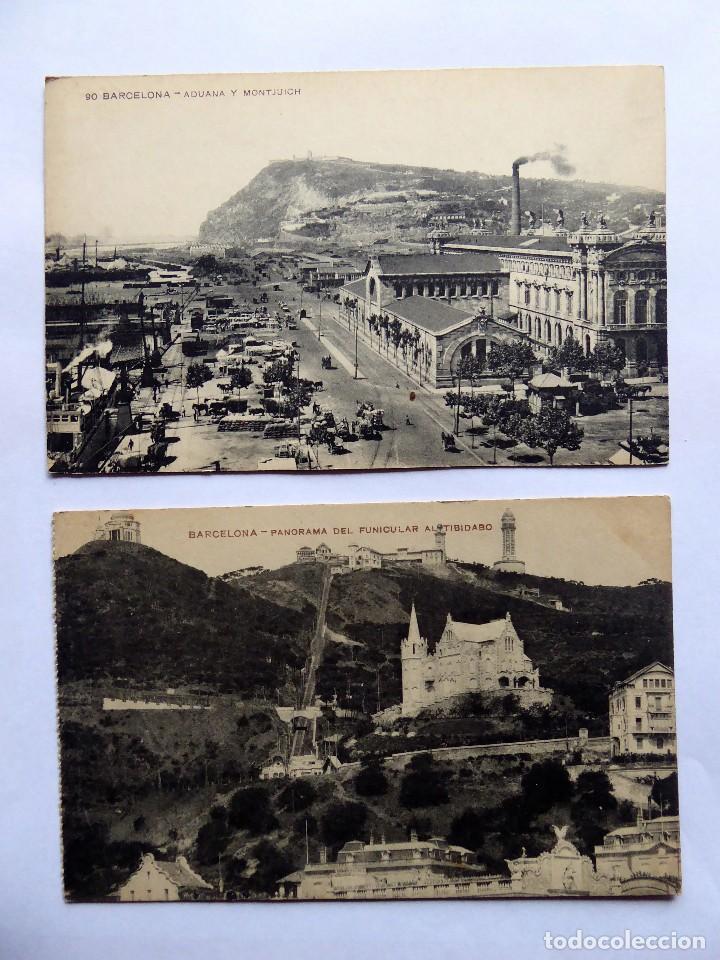 P-12685. BARCELONA. 2 POSTALES ANTIGUAS: FUNICULAR TIBIDABO / ADUANA Y MONTJUICH. NO CIRCULAD (Postales - España - Cataluña Antigua (hasta 1939))