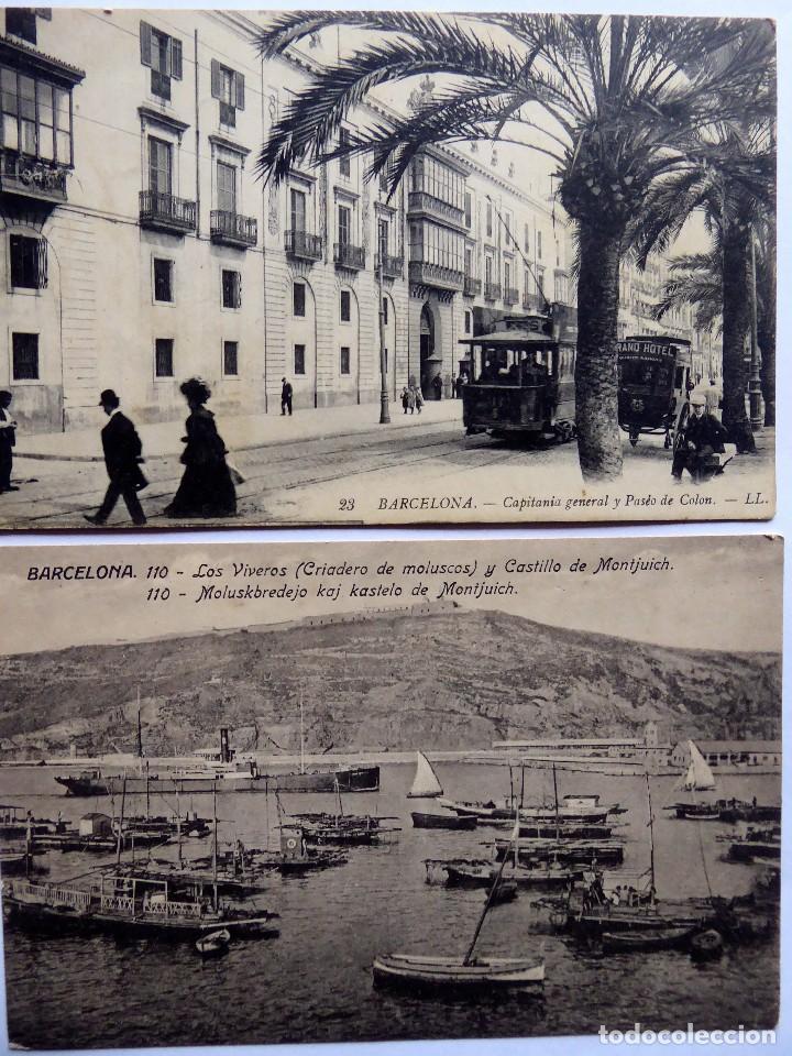 P-12686. BARCELONA. 2 POSTALES ANTIGUAS: LOS VIVEROS Y MONTJUICH / CAPITANIA GENERAL. NO CIRCULADAS. (Postales - España - Cataluña Antigua (hasta 1939))