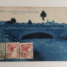 Postales: T-815.- POSTAL DE -- AMPOSTA -- PUENTE DE PIEDRA SOBRE EL CANAL DE RIEGO .- L. ROISIN , CIRCULADA. Lote 262940240