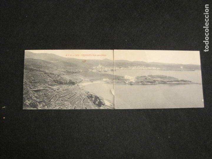 CADAQUES-DOBLE-VISTA PANORAMICA-ATV 3272 A.T.V.-POSTAL ANTIGUA-(80.690) (Postales - España - Cataluña Antigua (hasta 1939))