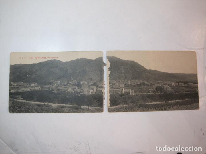 CAPELLADES-DOBLE-VISTA GENERAL-ATV 3784 A.T.V.-POSTAL ANTIGUA-(80.691) (Postales - España - Cataluña Antigua (hasta 1939))