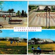 Postales: TARRAGONA - UNIVERSIDAD LABORAL - PISTA DE BALONCESTO - PATIO Y COLEGIO - 150X102 MM.. Lote 262982360